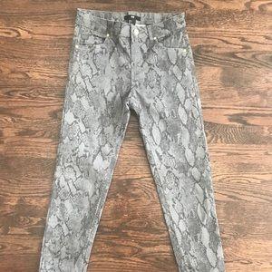 H&M snakeskin printed jean pants